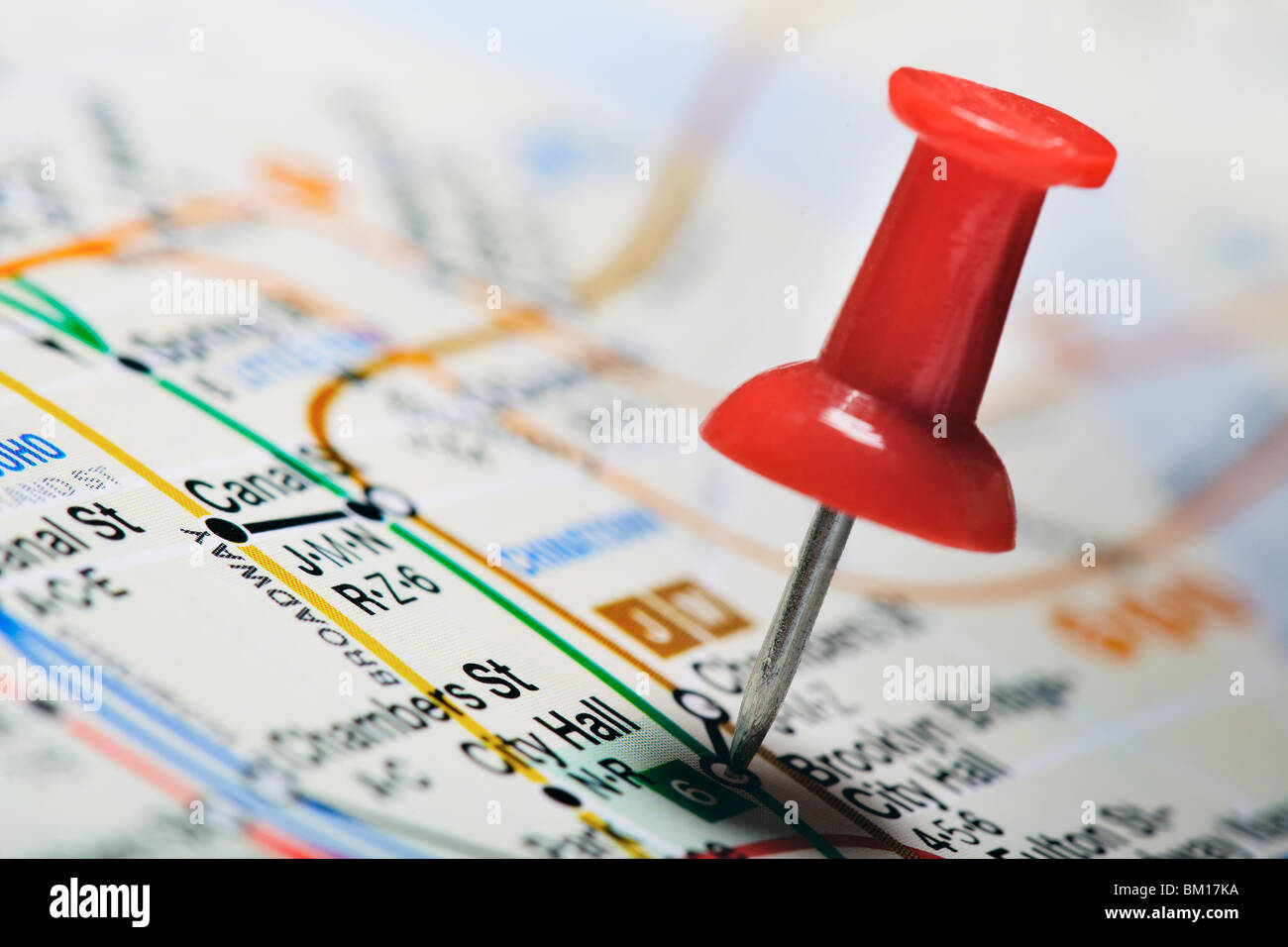 New York Subway Map Red.Thumbtack In A Subway Map New York Stock Photo 29531470 Alamy