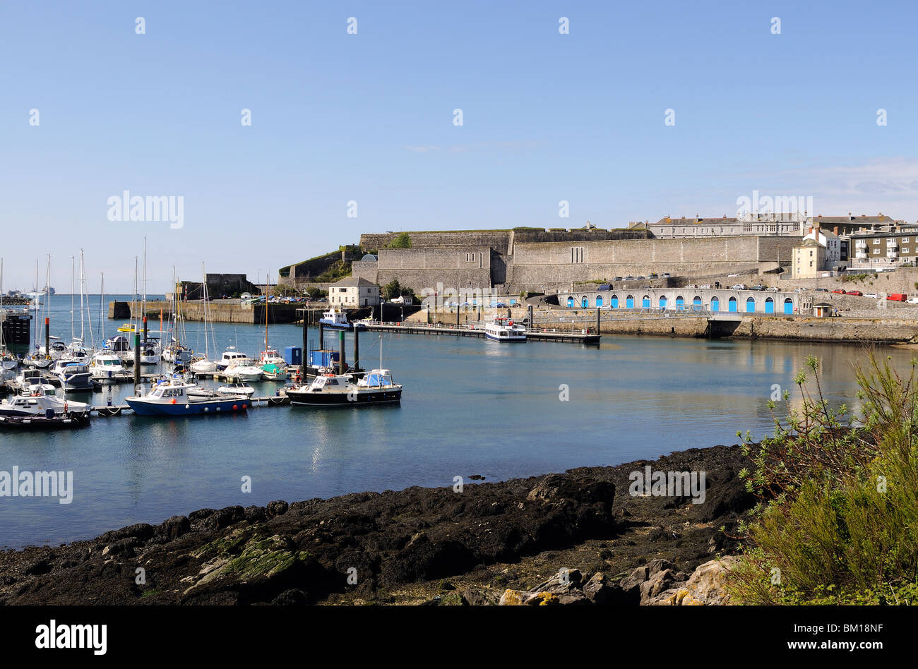 queen annes battery marina at plymouth, devon, uk - Stock Image