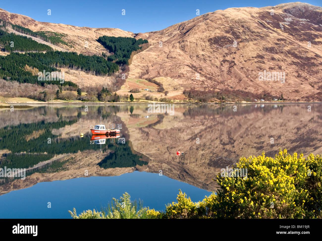 Reflections in Loch Leven, Near Ballachulish, Glencoe, Scottish Highlands, Scotland, UK - Stock Image