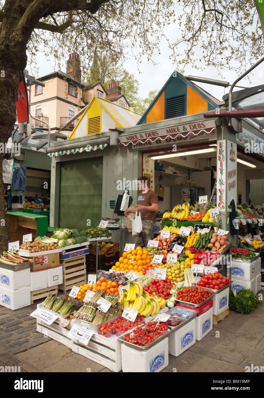 Fruit and veg stall, Norwich market, Norwich, Norfolk, UK - Stock Image