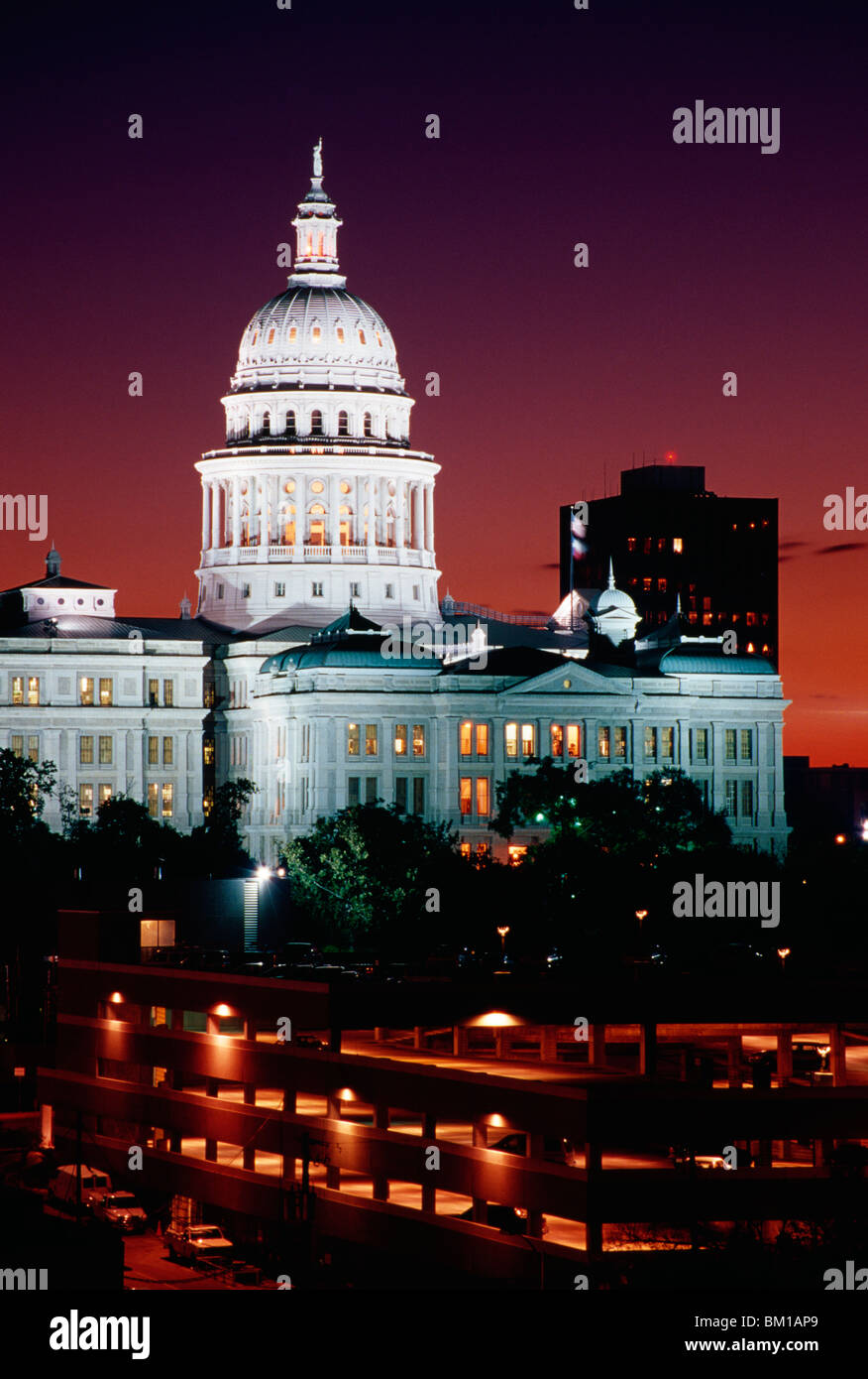 Government Building Lit Up At Night, Texas State Capitol, Austin, Texas, USA