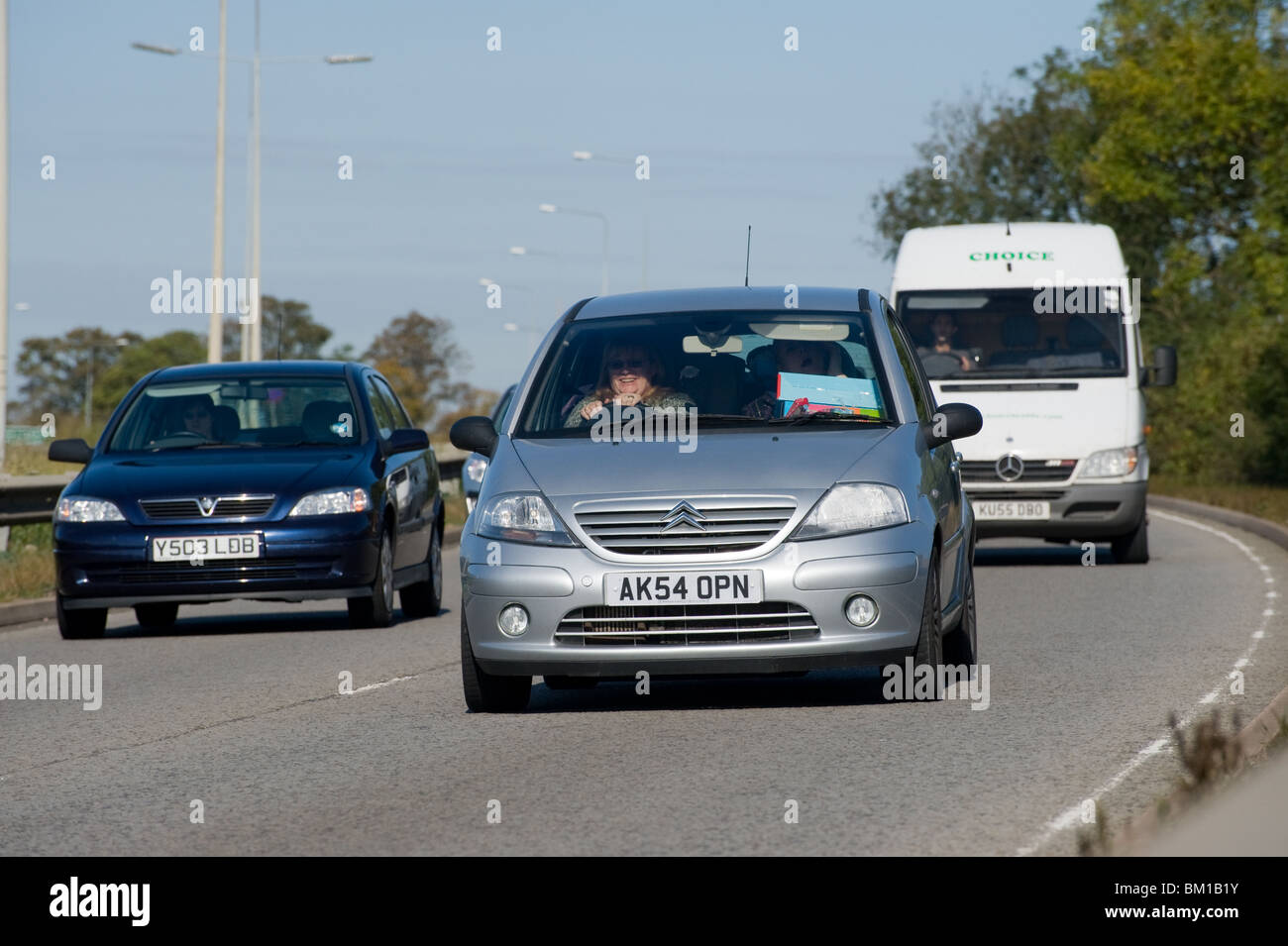 Traffic on a busy dual carriageway, uk england - Stock Image