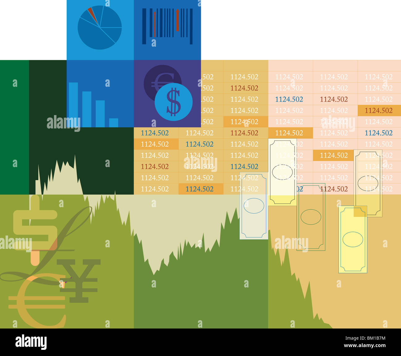 Illustrative representation of stock trading - Stock Image