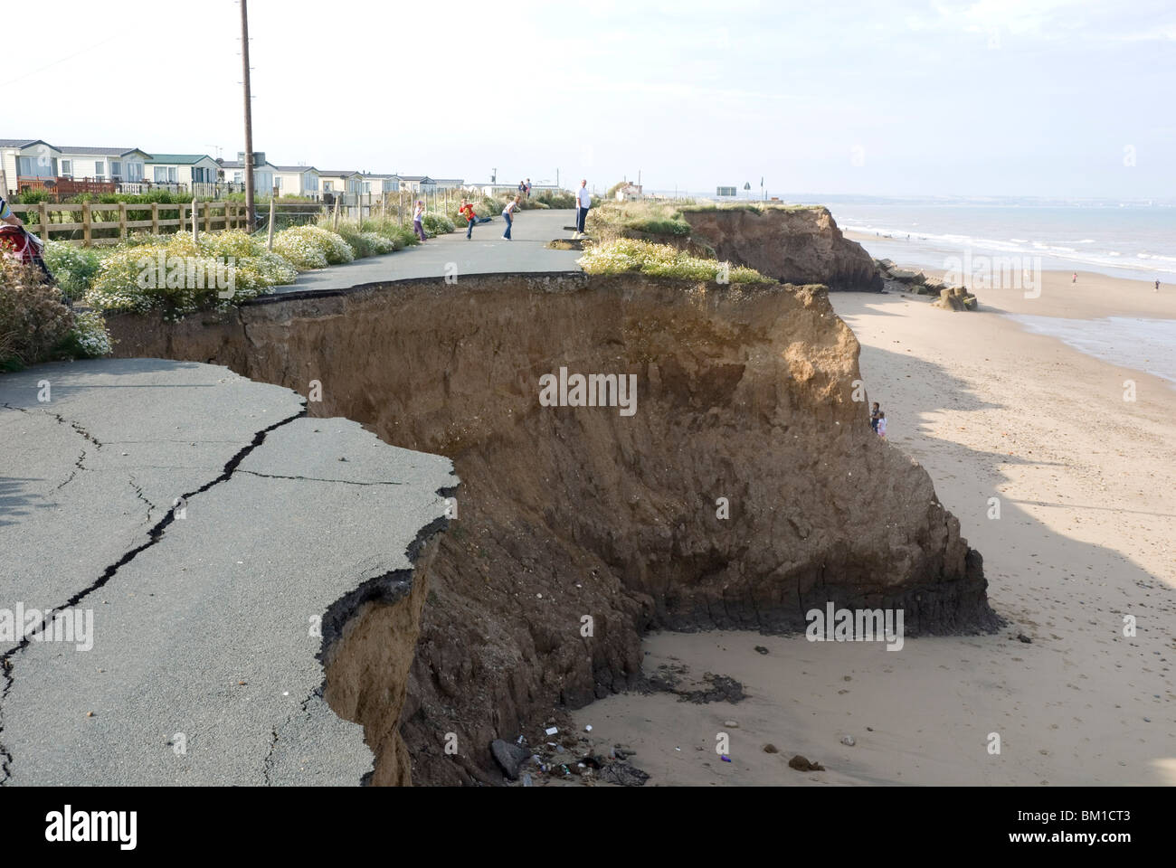 Coast erosion with active landslips in glacial till, Skipsea, Holderness coast, Humberside, England, United Kingdom - Stock Image