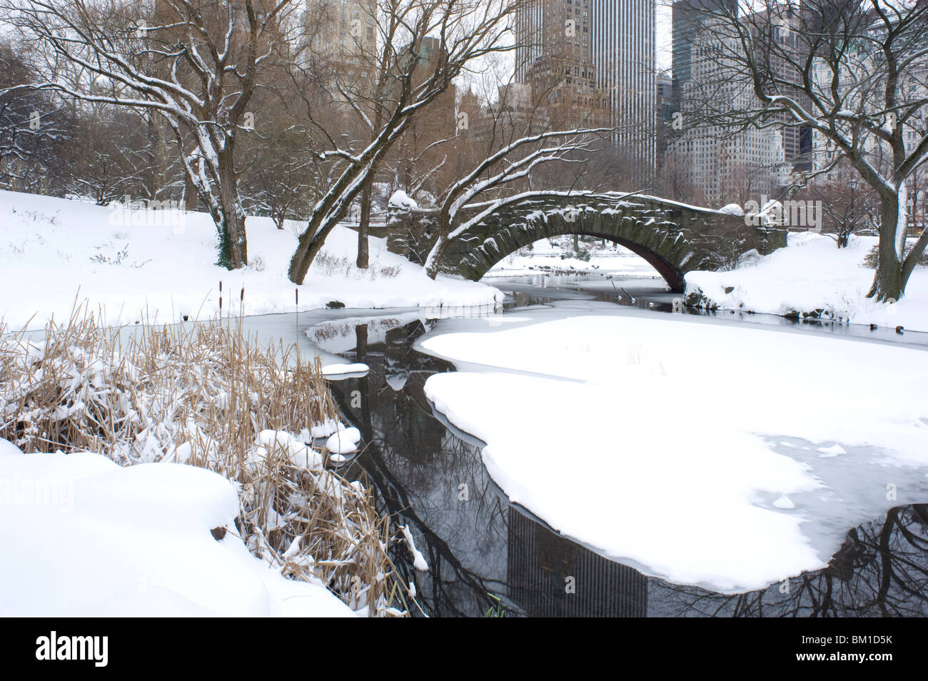The Gapstow Bridge in early morning after a snowfall in Central Park, New York State, New York City, United States - Stock Image