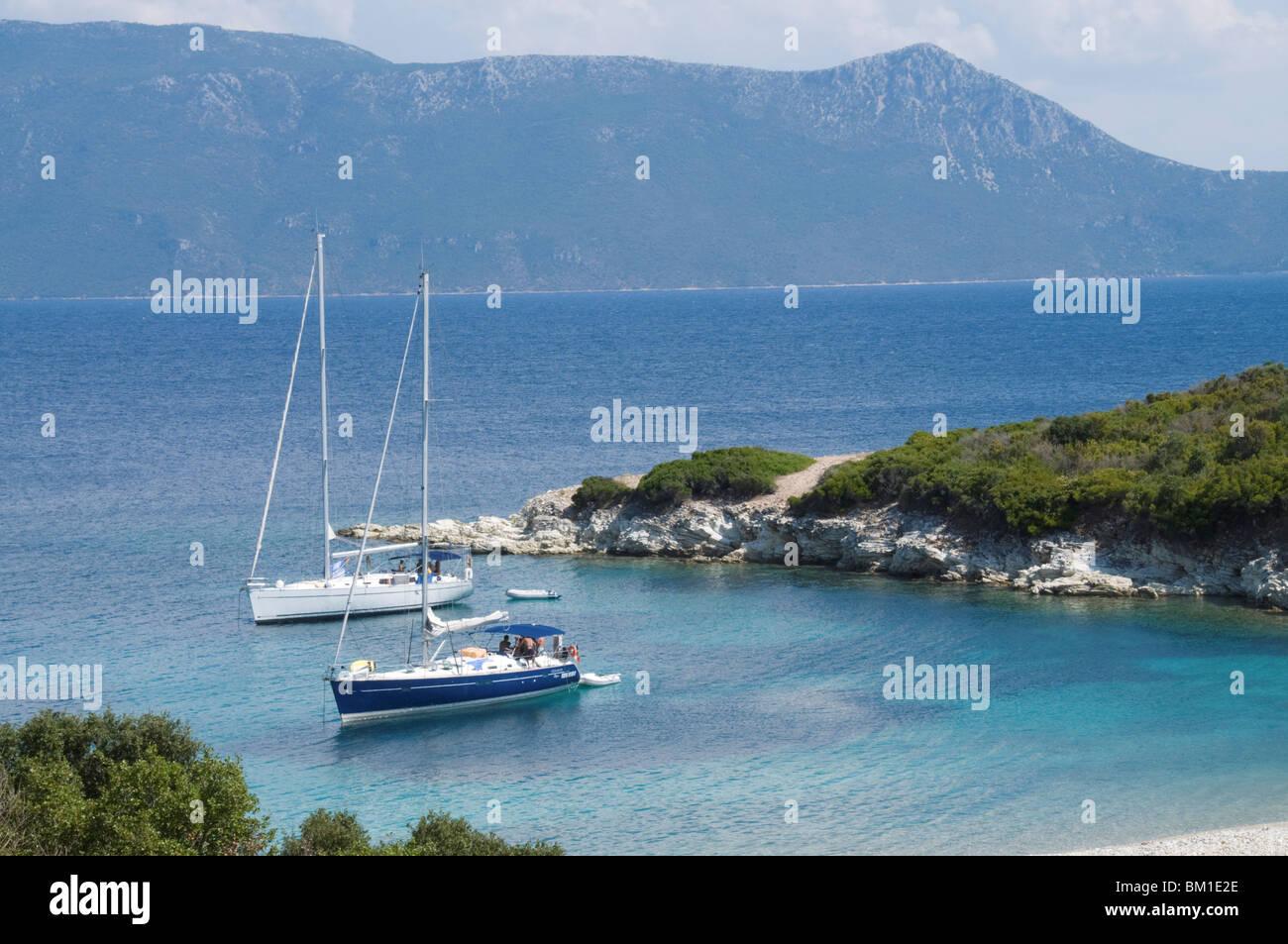 Sailing boats, Meganisi, Ionian Islands, Greek Islands, Greece, Europe - Stock Image