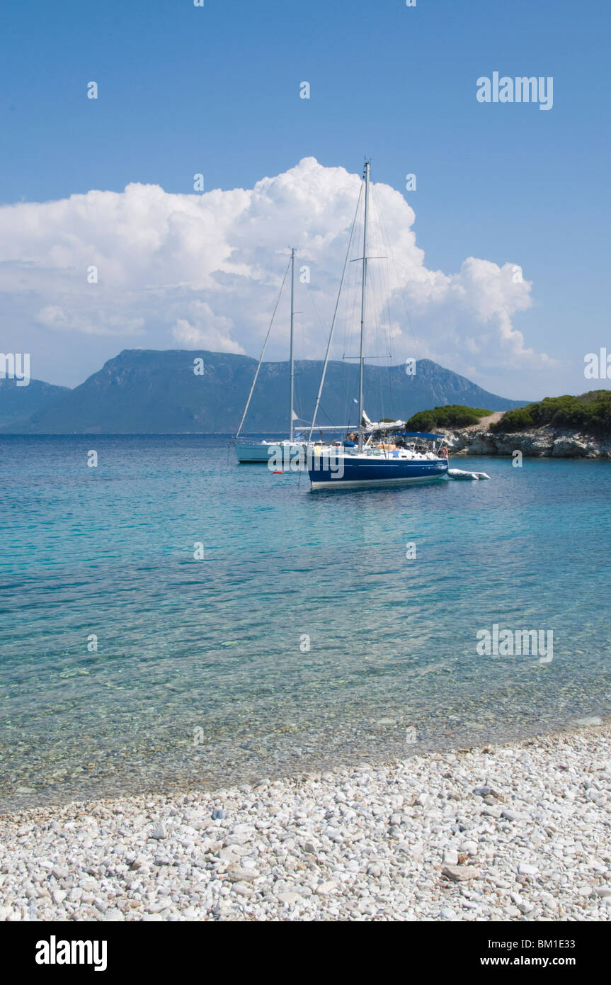 Sailing boats, Meganisi, Ionian Islands, Greek Islands, Greece, Europe - Stock Image