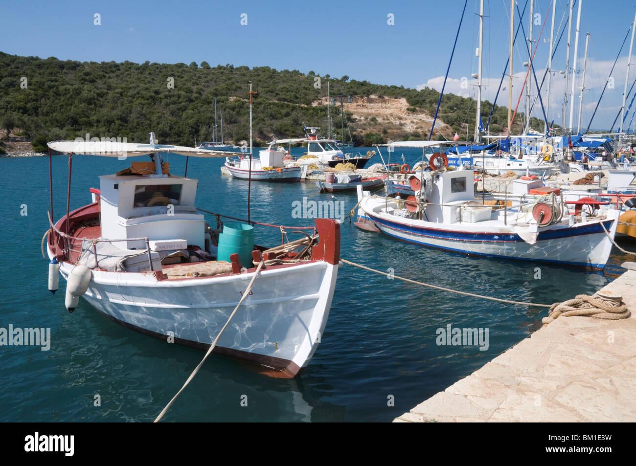 Fishing boats, Meganisi, Ionian Islands, Greek Islands, Greece, Europe - Stock Image
