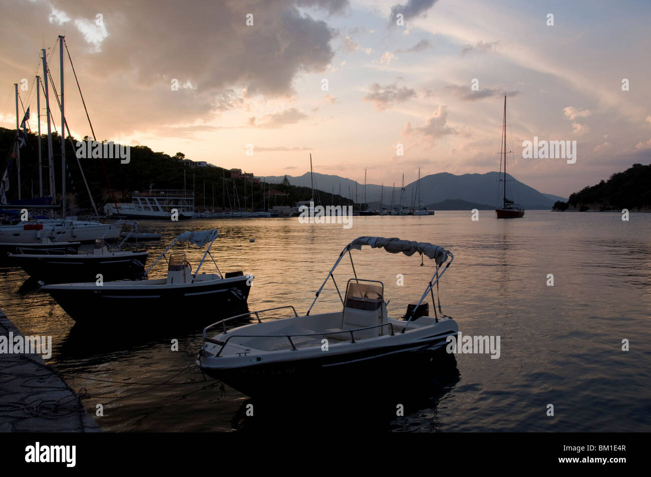 Boats in harbour, Vathi, Meganisi, Ionian Islands, Greek Islands, Greece, Europe - Stock Image