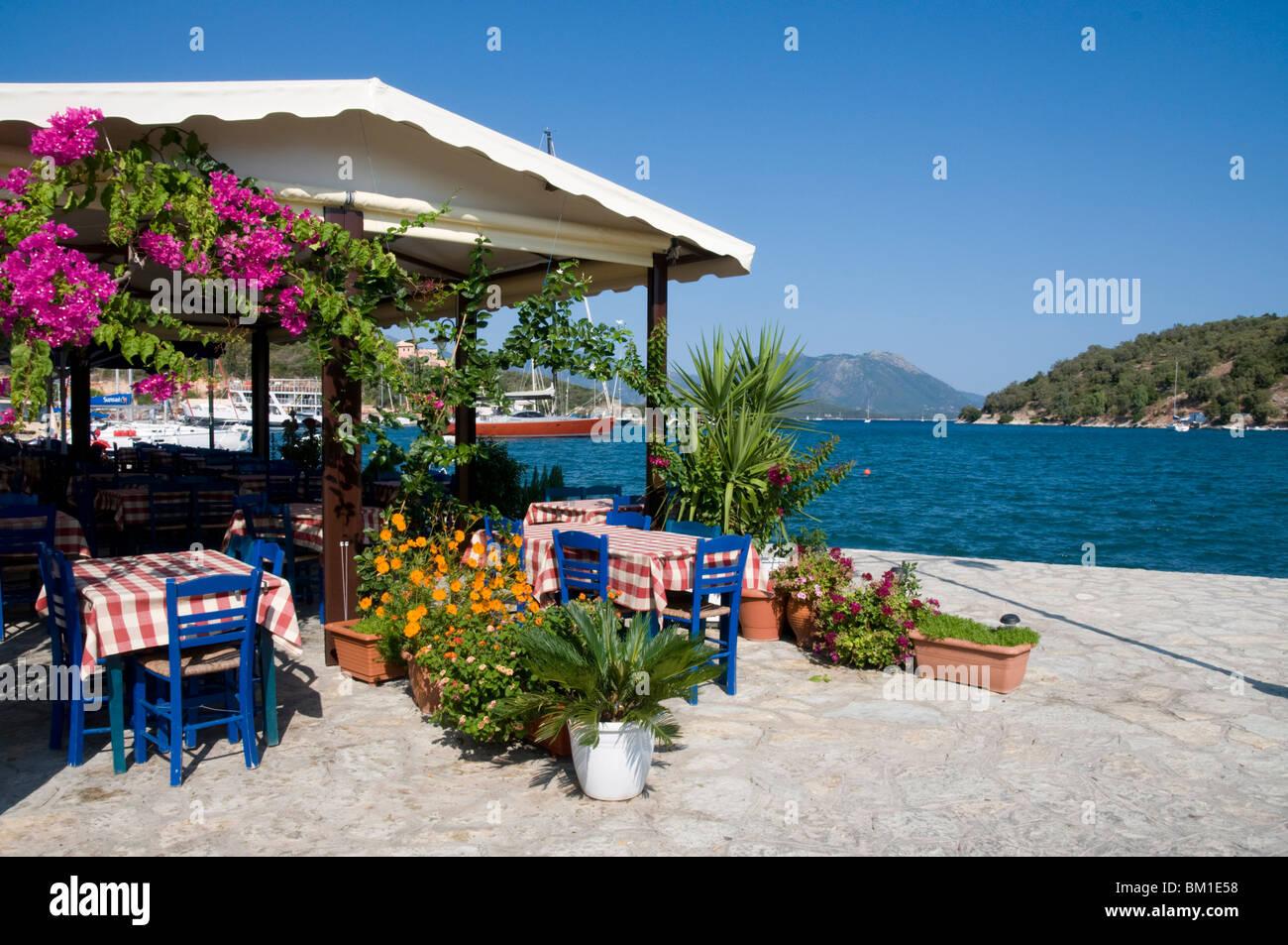 Taverna, Vathi, Meganisi, Ionian Islands, Greek Islands, Greece, Europe - Stock Image
