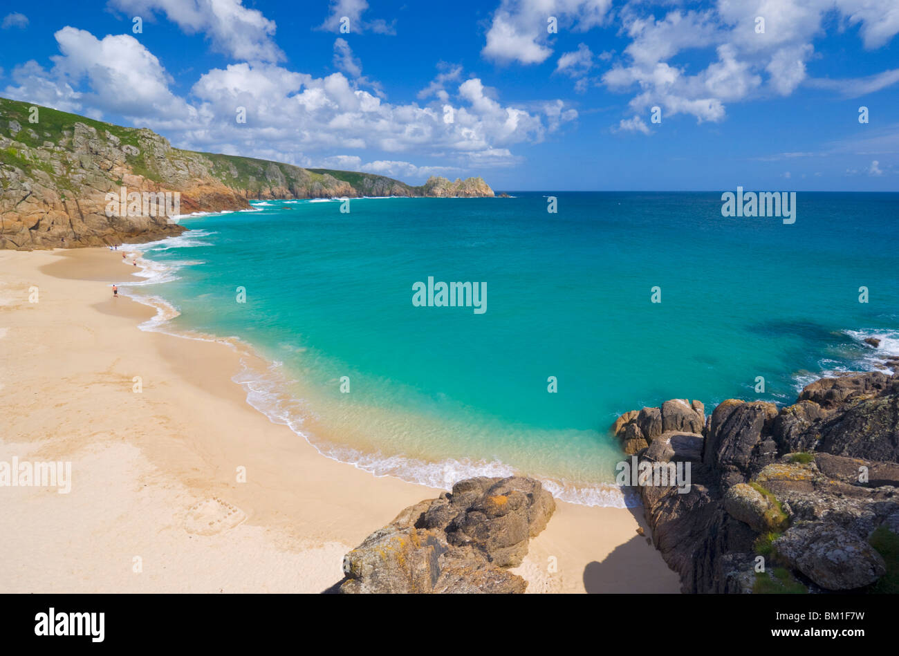Porthcurno beach, Cornwall, England, United Kingdom, Europe - Stock Image