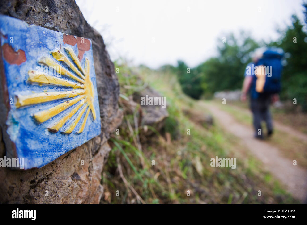 Hiker pilgrim on the Camino de Santiago, Asturias, Spain, Europe - Stock Image