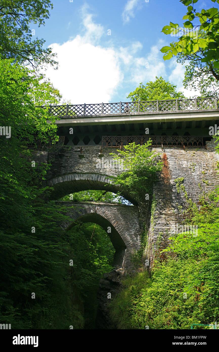 The three bridges over the river gorge at Devil's Bridge, Ceredigion, Wales, UK - Stock Image