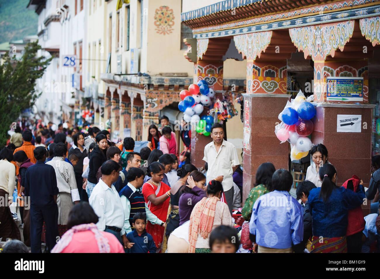 Festival period street market, Thimphu, Bhutan, Asia - Stock Image