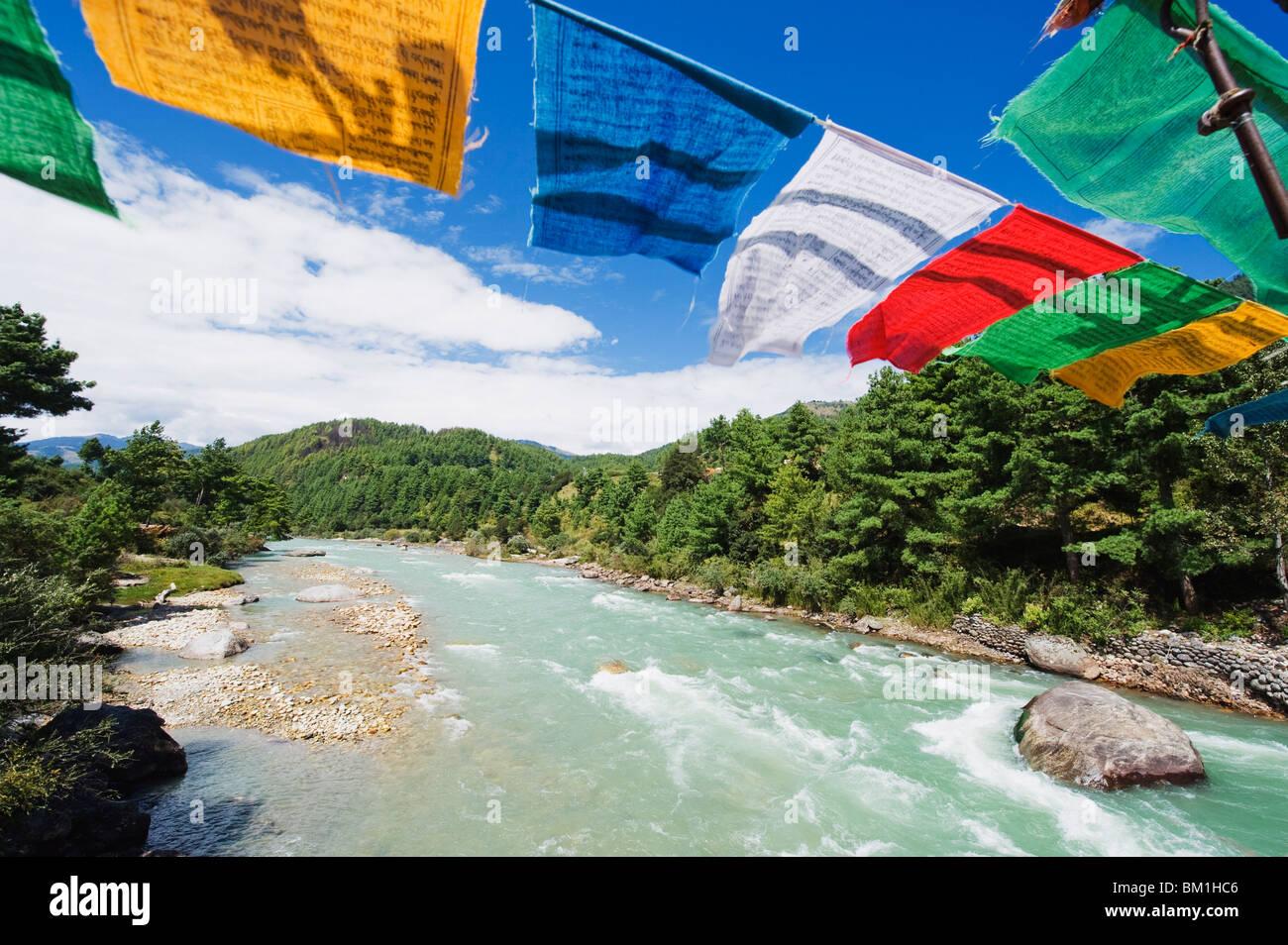 Prayer flags on a bridge, Bumthang, Chokor Valley, Bhutan, Asia - Stock Image