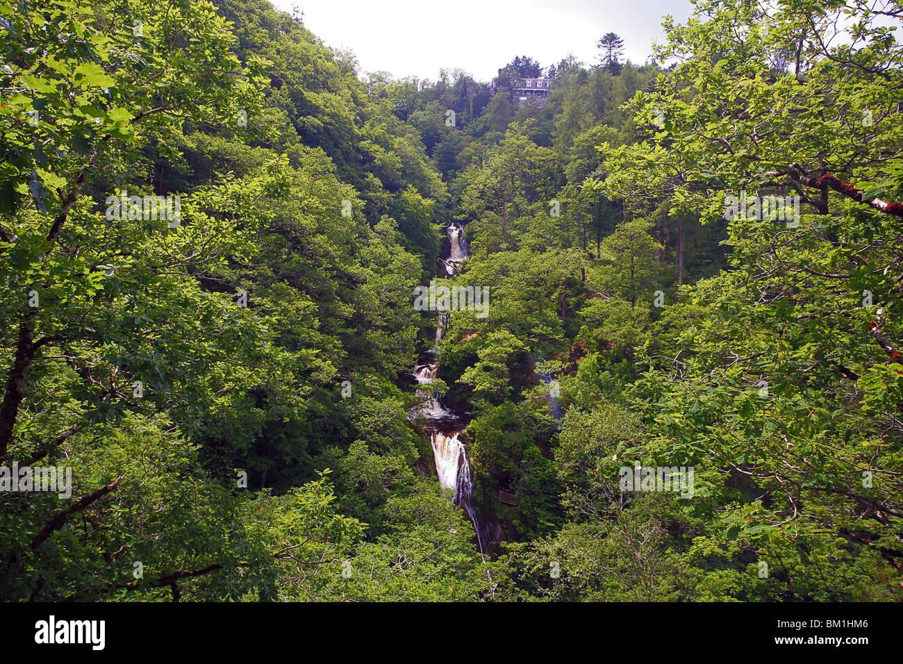 Mynach Falls on the Afon Mynach at Devil's Bridge, Ceredigion,  Wales, UK - Stock Image