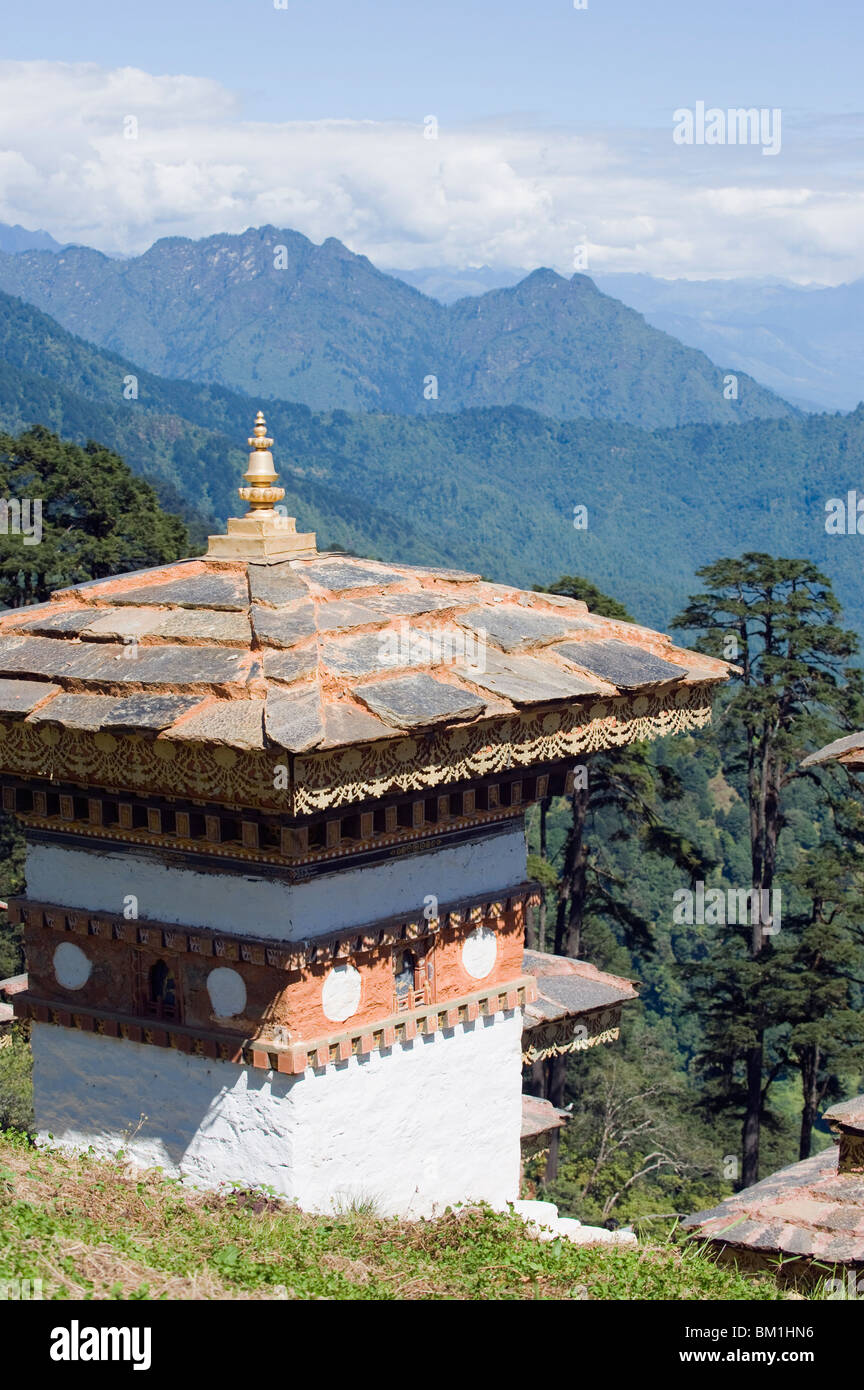 Site of 108 chortens built in 2005 to commemorate a battle with militants, Dochu La pass, 3140m, Bhutan, Himalayas, - Stock Image