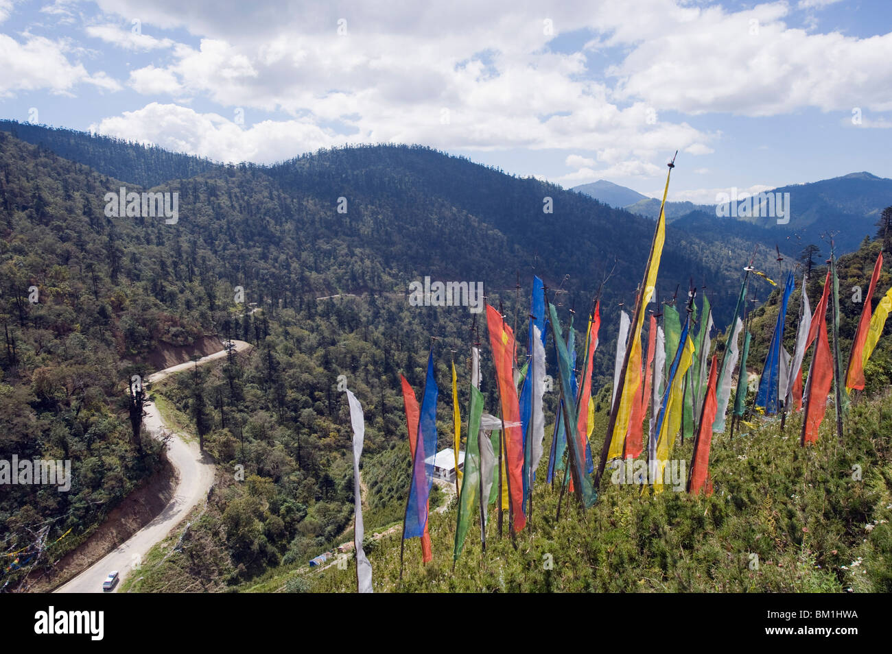 Prayer flags at Pele La pass, 3420m, Black Mountains, Bhutan, Himalayas, Asia - Stock Image