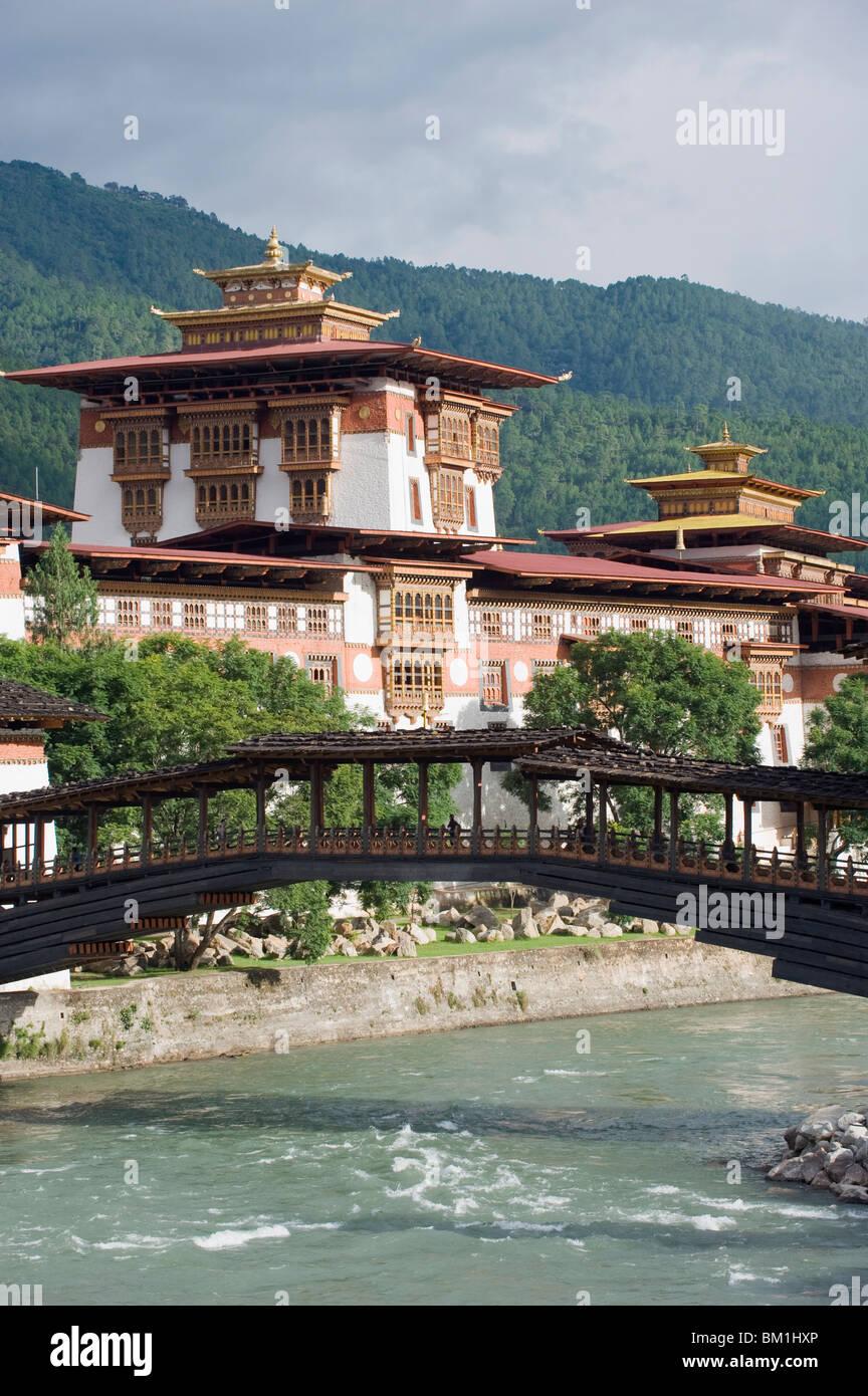 Punakha Dzong dating from 1637, Punakha, Bhutan, Asia - Stock Image