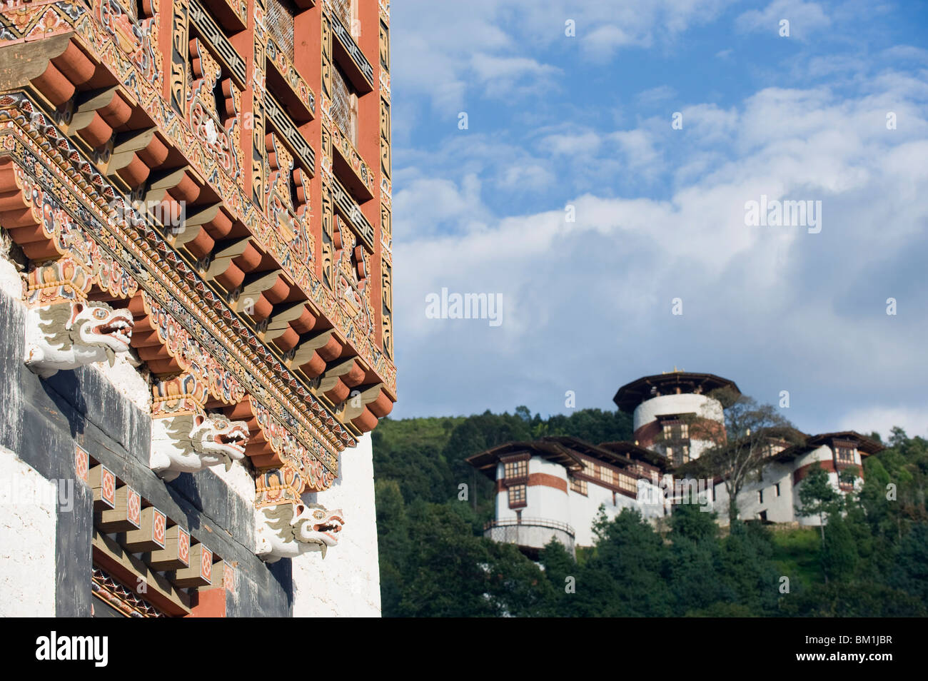 Watch tower at Trongsa Dzong (Chokhor Raptentse), dating from 1648, Bhutan, Asia - Stock Image