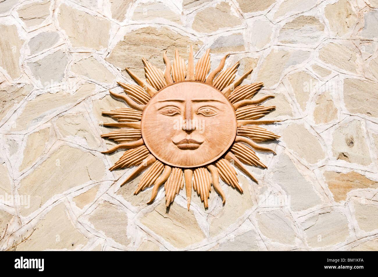 sun sunny face blazing sunshine shine global warming strong bright day summer heat hot summers days fierce sunburn - Stock Image