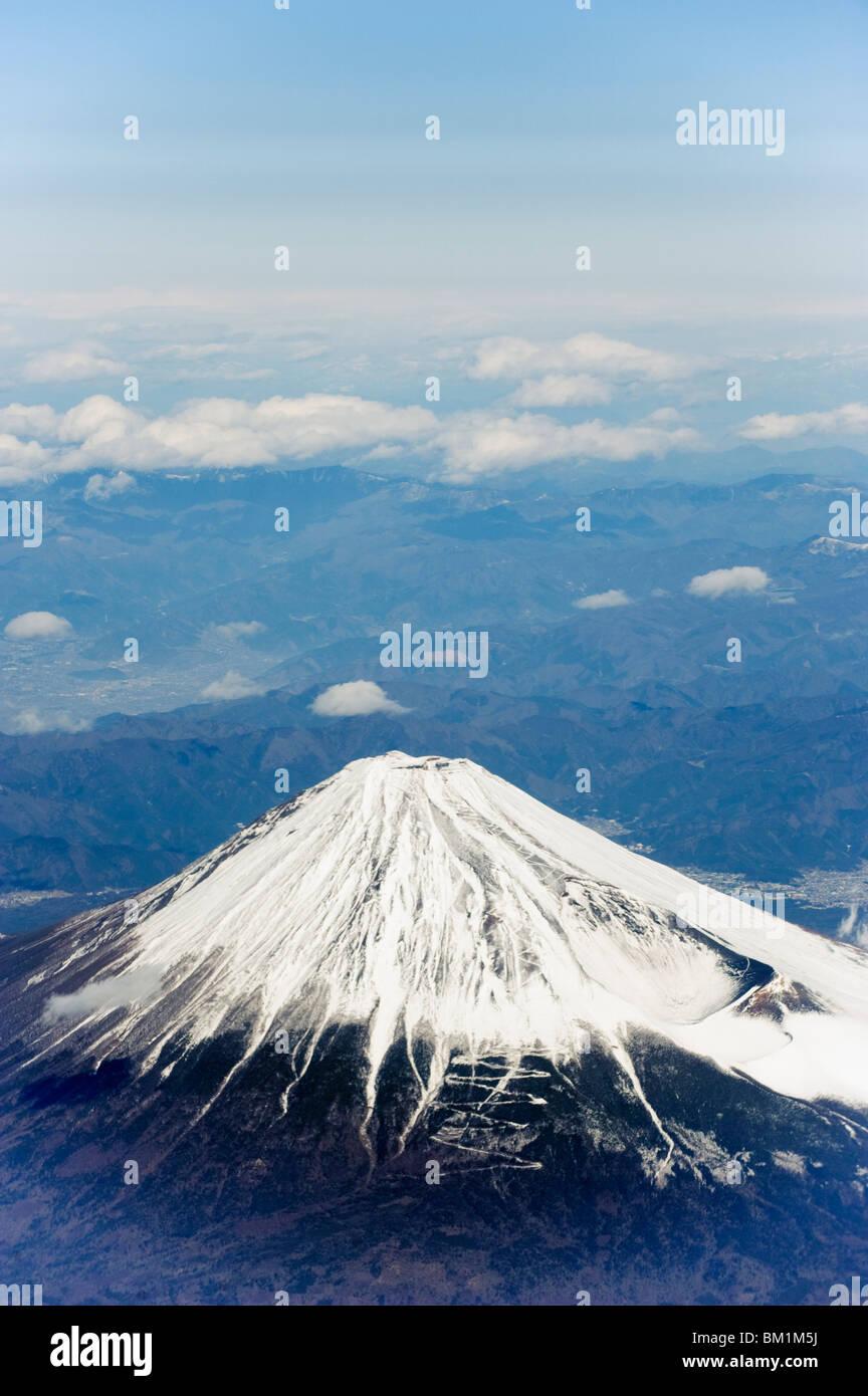 Aerial view of Mount Fuji, Shizuoka Prefecture, Japan, Asia - Stock Image