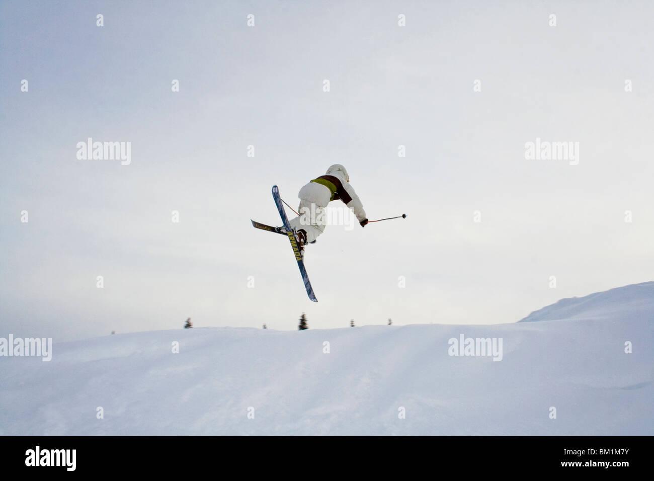 skier in Dunderet ski resort in northern sweden part of the gallivare town - Stock Image