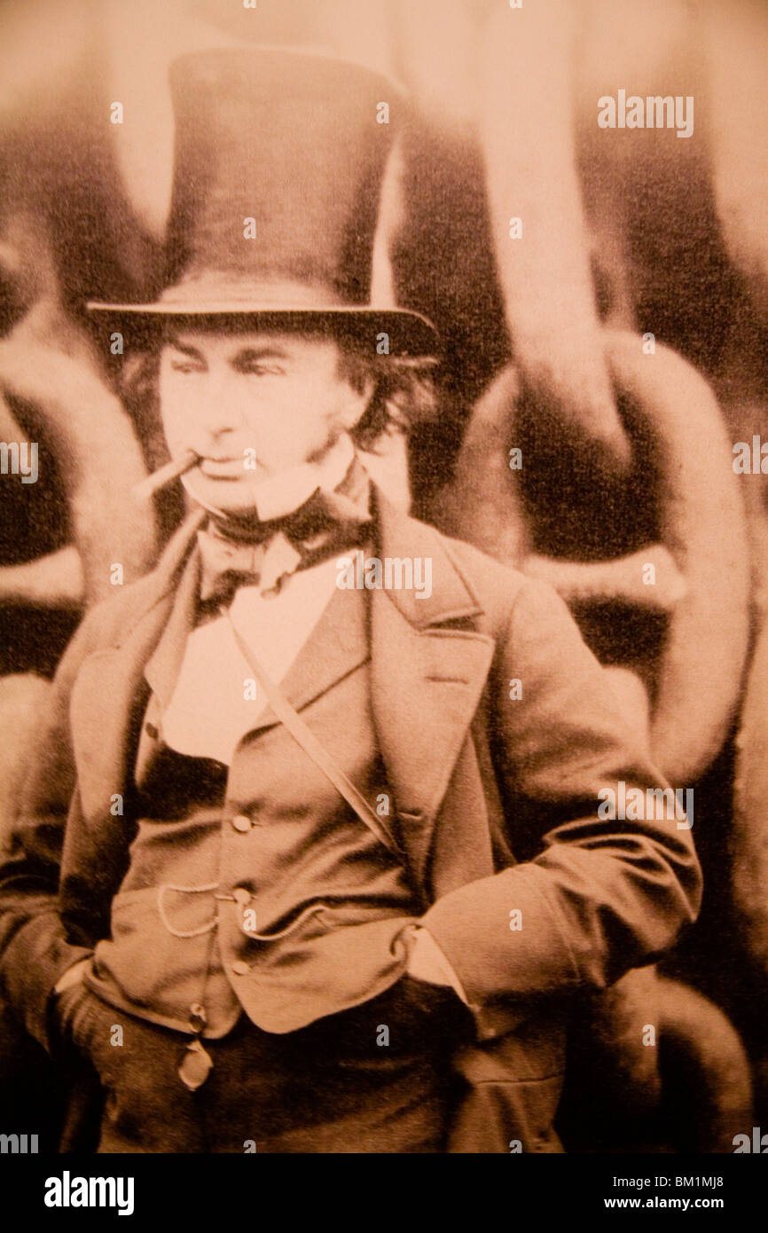 Photograph Isambard Kingdom Brunel famous english victorian engineer inventor in iconic pose with billycock top - Stock Image