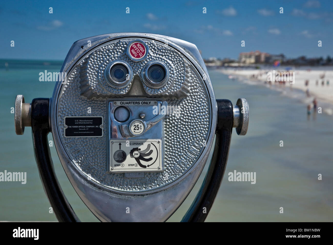 Telescope with view of Clearwater Beach, Florida, USA - Stock Image