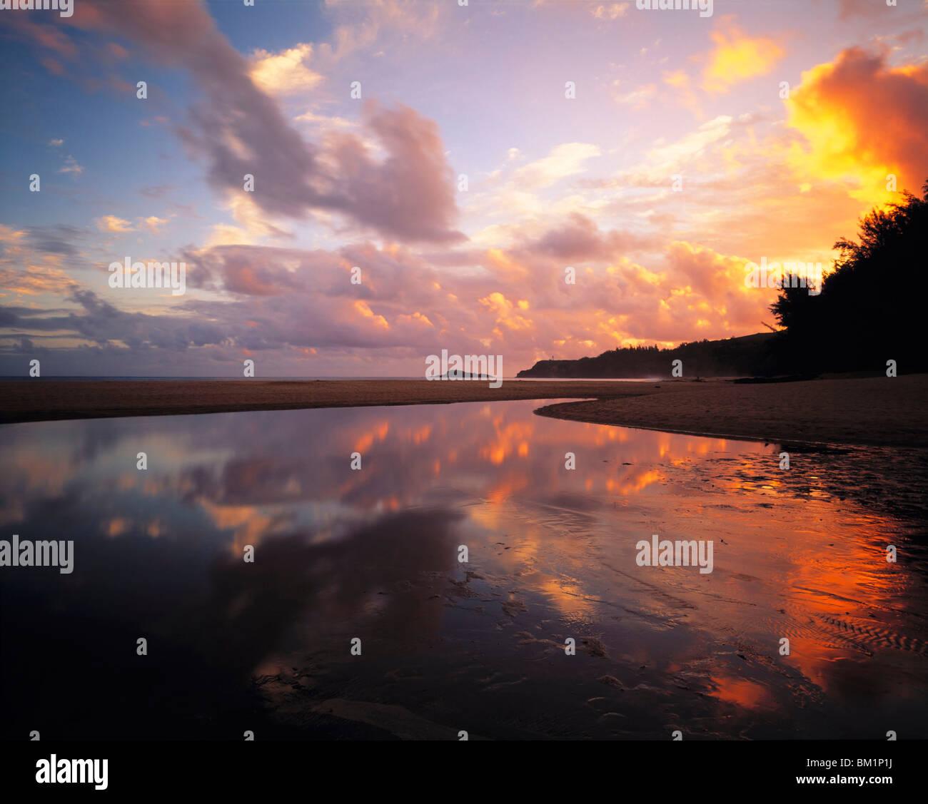 Freshwater Pool Reflection  Secret Beach  Island of Kauai  Hawaii Stock Photo