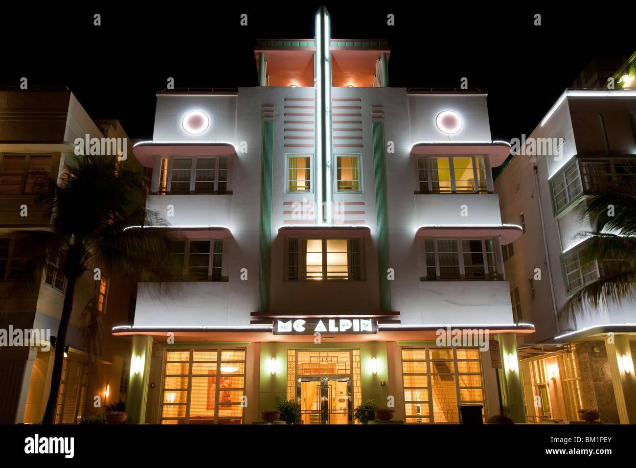 Art Deco District, South Beach, Miami, USA - Stock Image