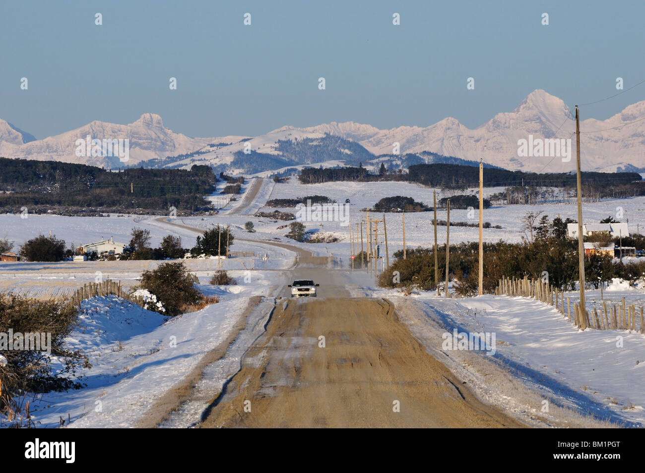 Road near Pincher Creek, Alberta, Canada, North America - Stock Image