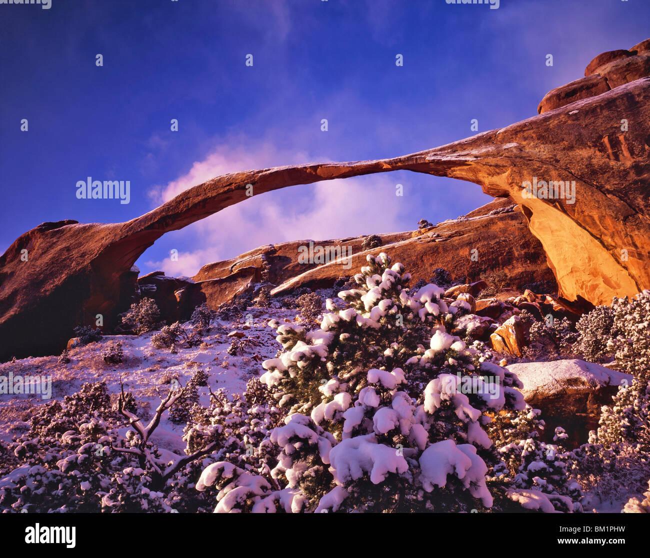 Landscape Lighting Utah: Unusual Heavy Snow At Landscape Arch On Winter Dawn Devils