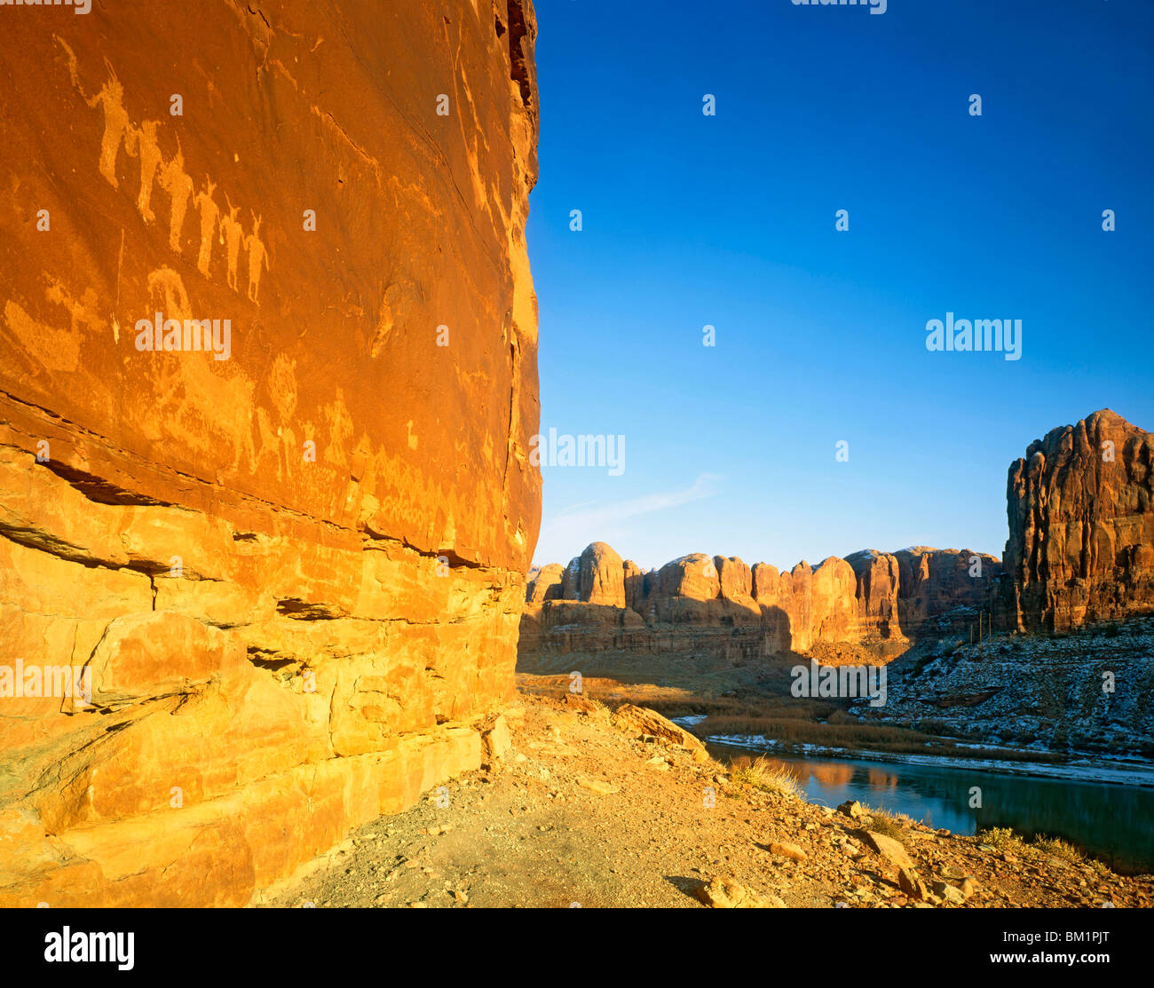 Anasazi Petroglyphs at Sunset along the Colorado River  Utah - Stock Image