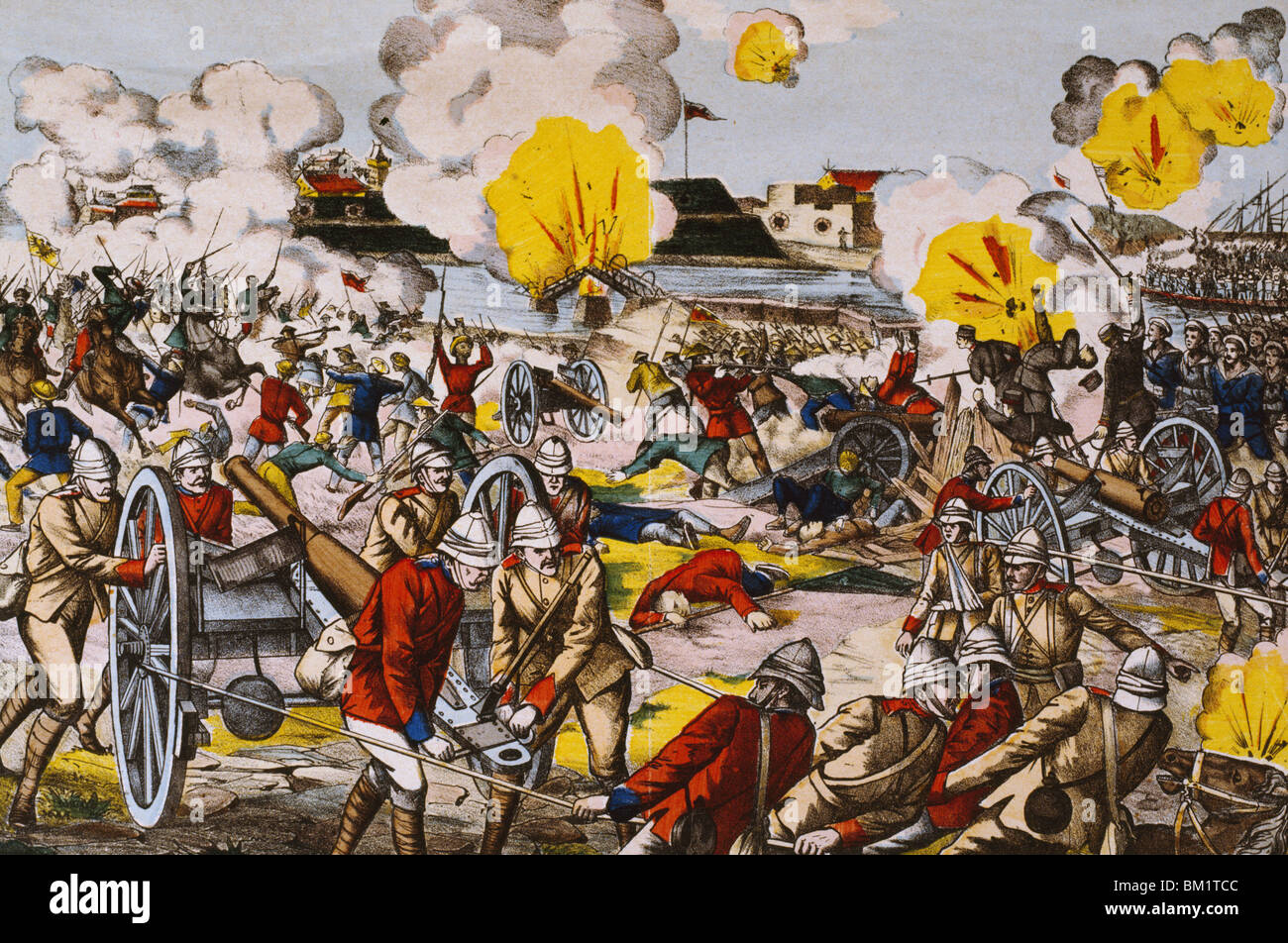 Boxer Rebellion: Battle of Peitfang August 5,  lithograph,  Artist Unknown,  1900 - Stock Image