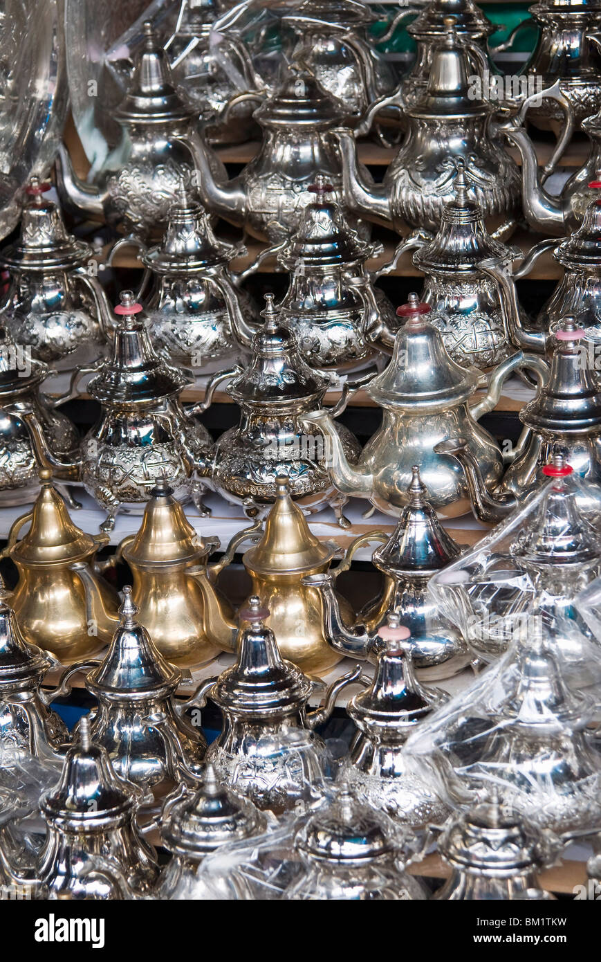 Teapots for sale in the souk, Medina, Marrakech (Marrakesh), Morocco, North Africa, Africa - Stock Image