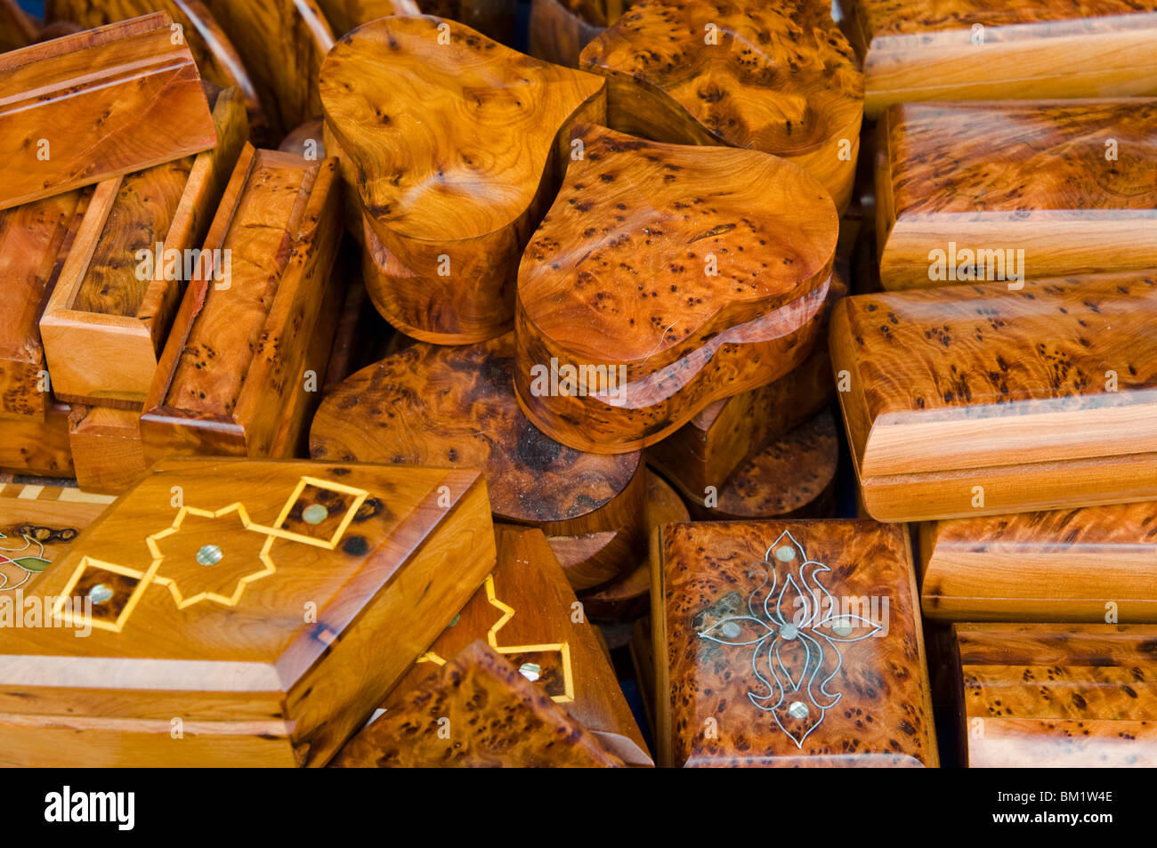 Briar-root and thuya boxes for sale in the Old City, Essaouira, Morocco, North Africa, Africa - Stock Image