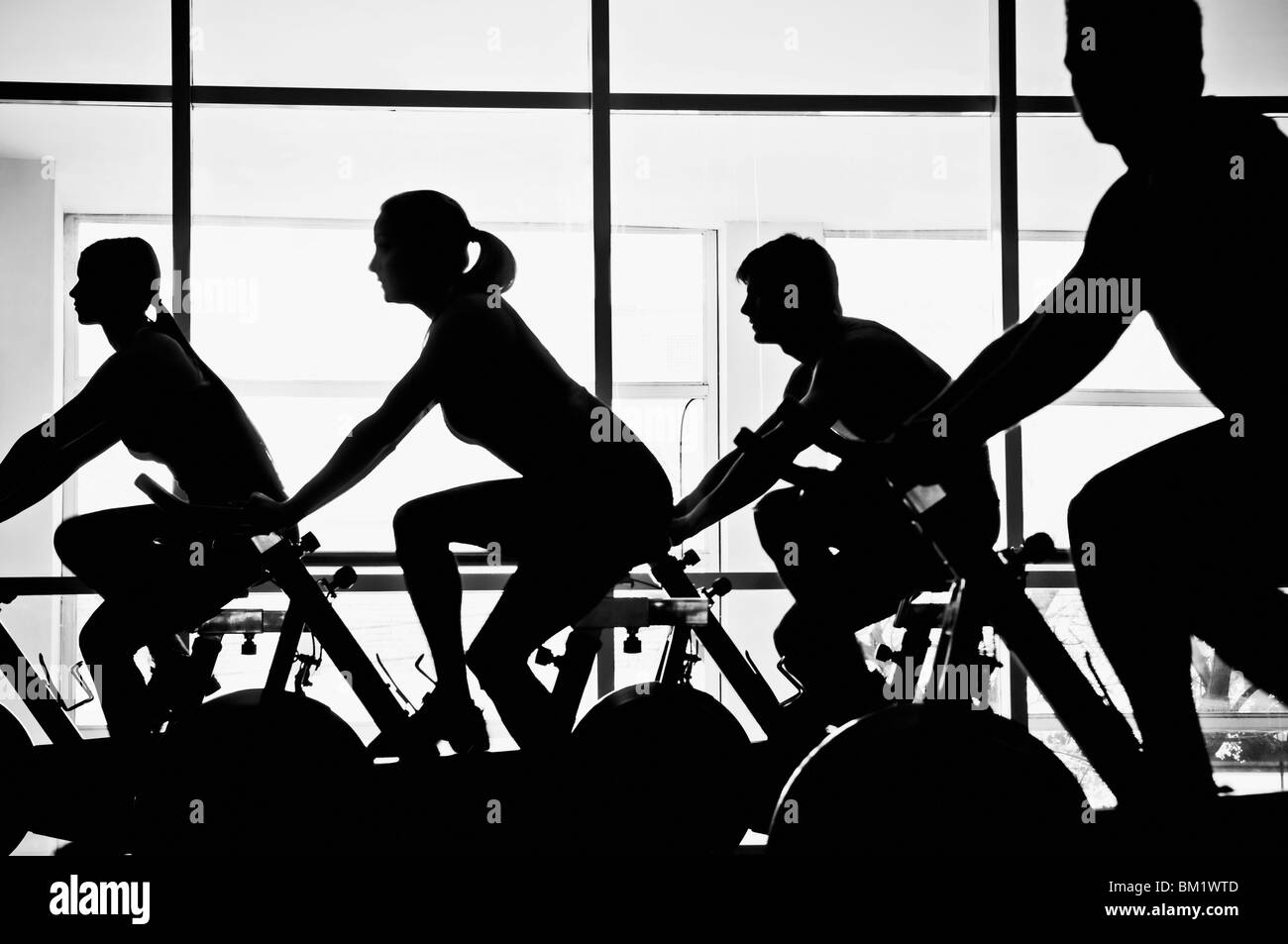 Silhouette of four people working out on exercise bikes in a gym - Stock Image