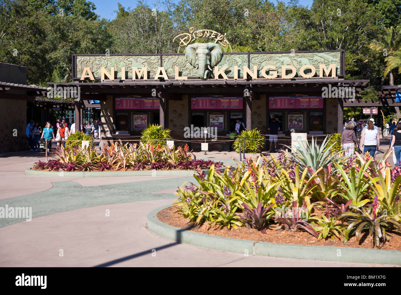 Orlando, FL - Jan 2009 - Guests coming and going at the main entrance to Disney's Animal Kingdom in Orlando - Stock Image