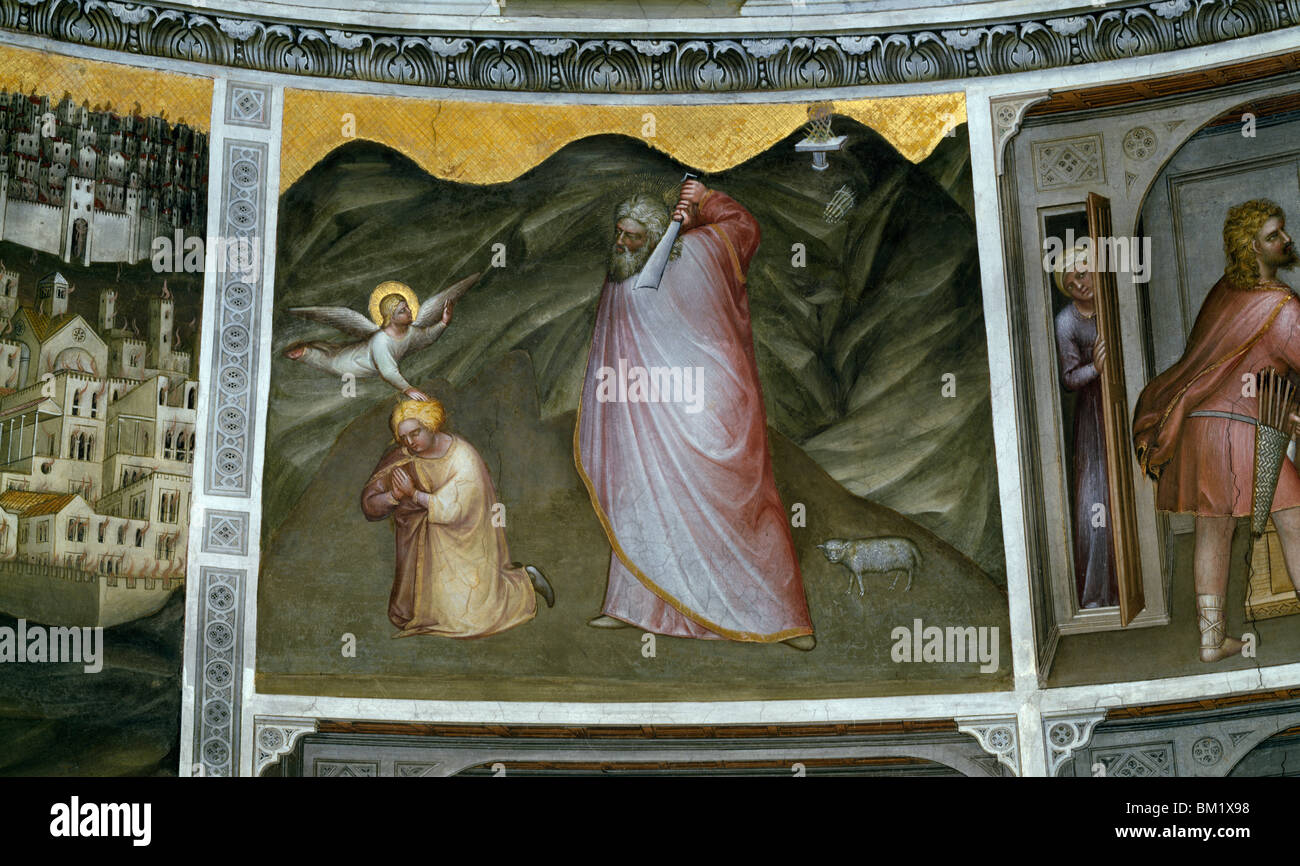 Abraham and the Sacrifice of Isaac  from Scenes from the Old Testament by Giusto de' Menabuoi  fresco  (Circa - Stock Image