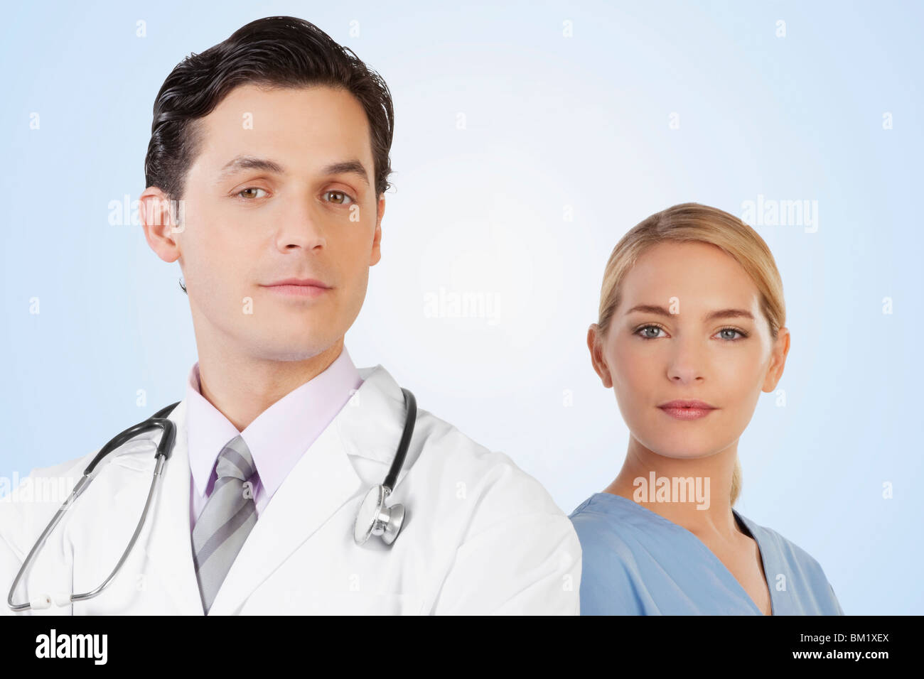 Portrait of a doctor and a nurse - Stock Image