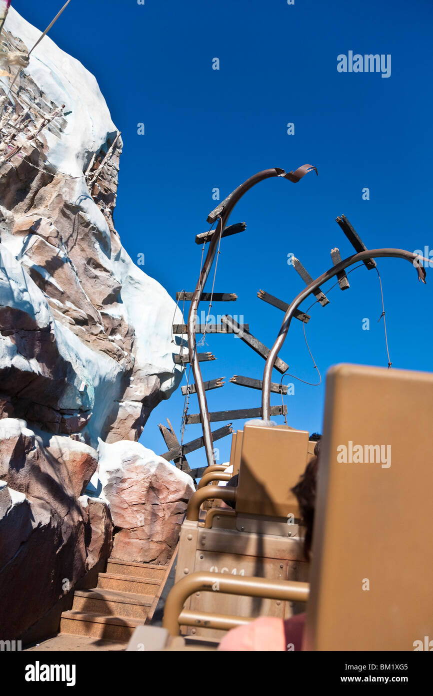 Orlando, FL - Jan 2009 - Broken rails on Expedition Everest roller coaster ride at Disney's Animal Kingdom in - Stock Image