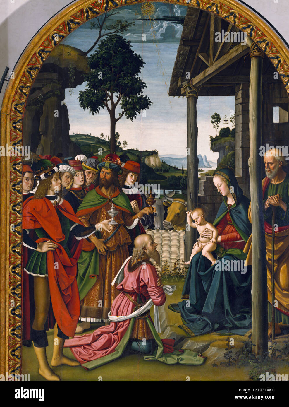 Adoration of the Magi by Pietro Perugino,  tempera on wood,  (Circa 1450-1523),  Italy,  Perugia,  Pinacoteca Nazionale - Stock Image