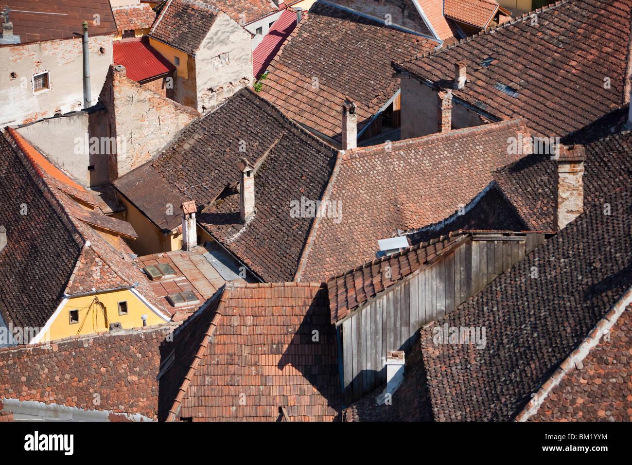 Roofs, Sighisoara, UNESCO World Heritage Site, Transylvania, Romania, Europe - Stock Image