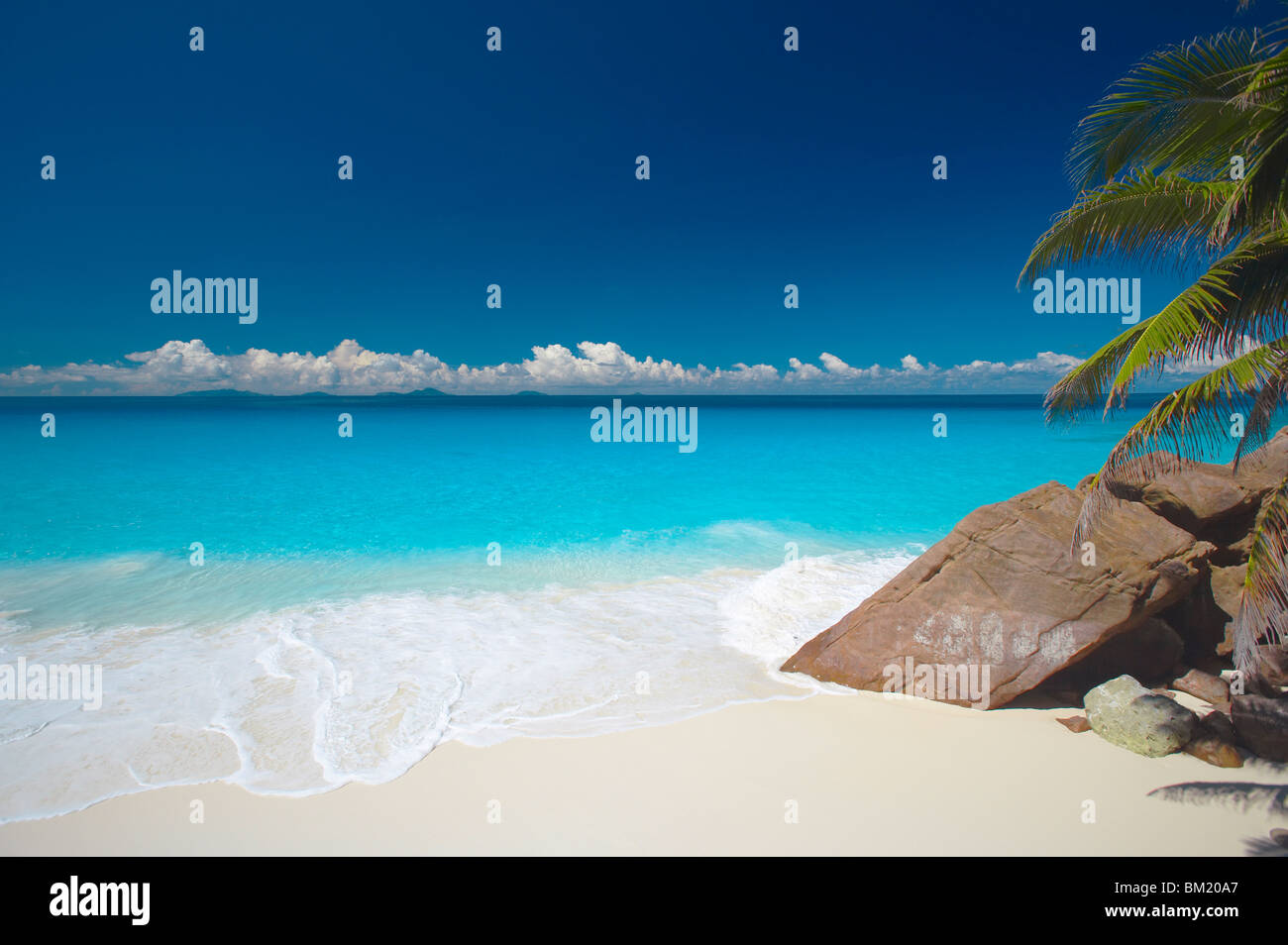 Tropical beach, Seychelles, Indian Ocean, Africa - Stock Image