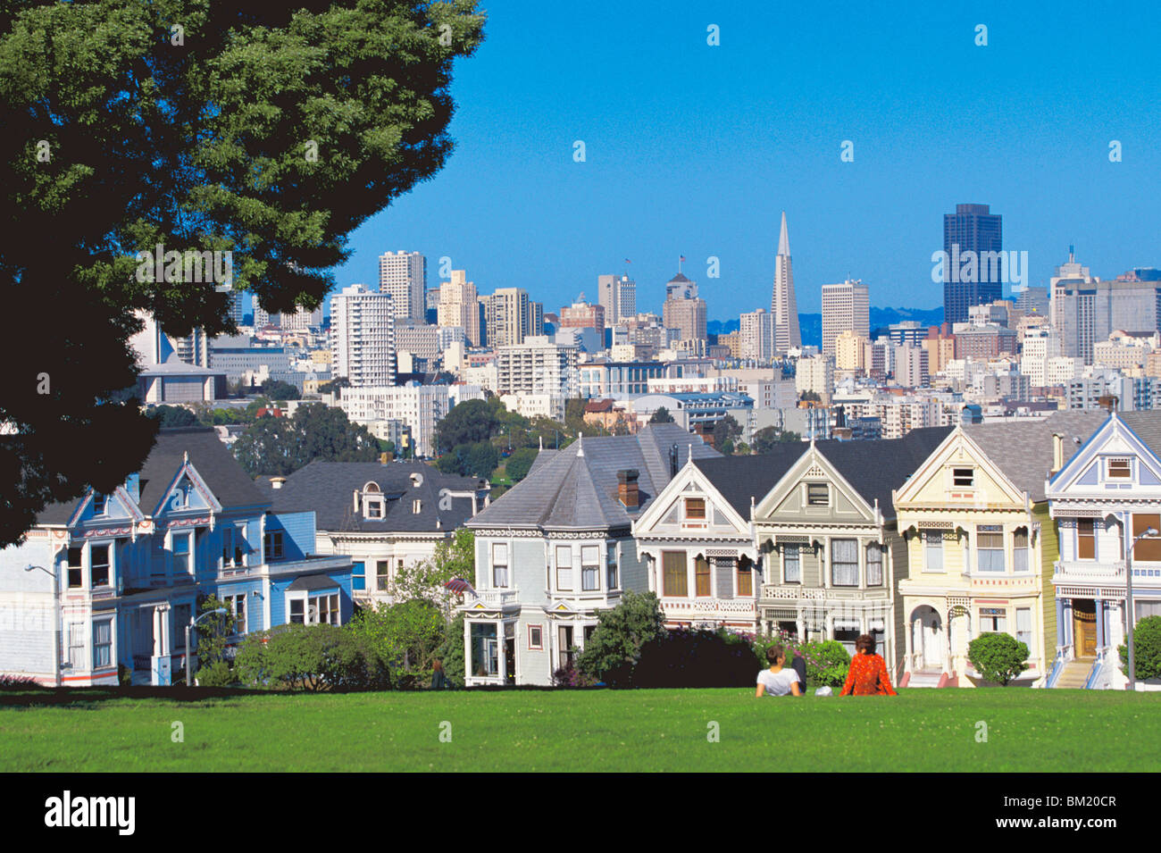 Alamo Square, with city skyline in background, San Francisco, California, United States of America, North America - Stock Image