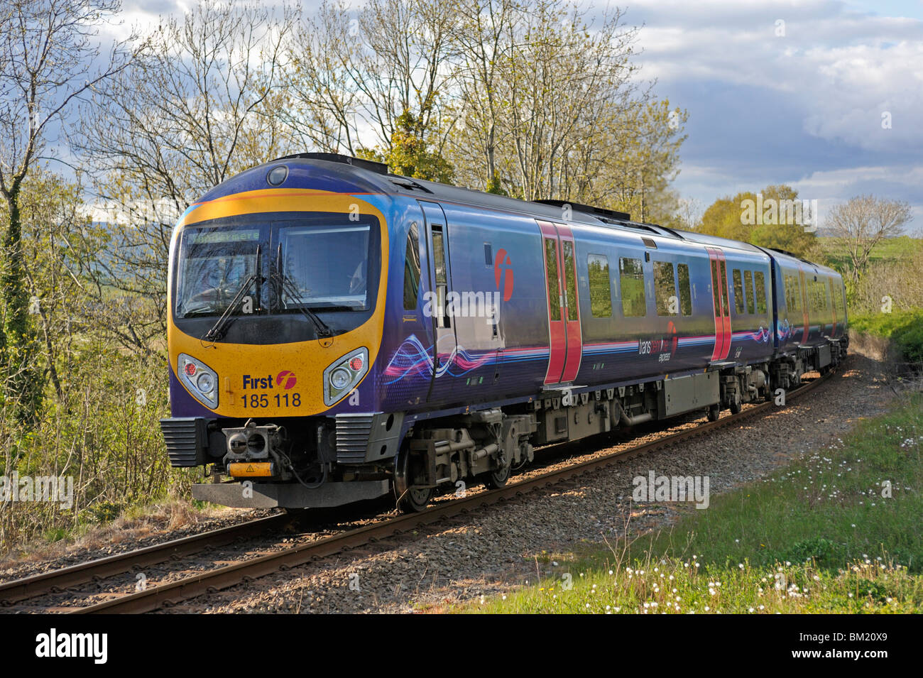 First TransPennine Express, DMU Class 185 Desiro, Number 185 118 approaching Oxenholme Station, Cumbria, England, - Stock Image