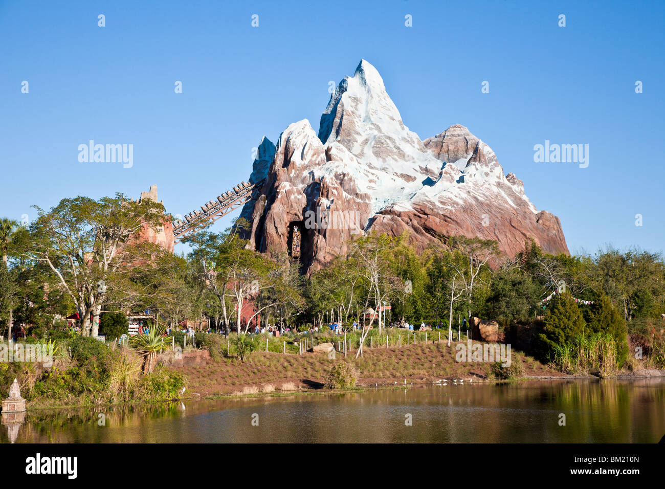 Expedition Everest Roller Coaster Cars Entering Mountain Tunnel At