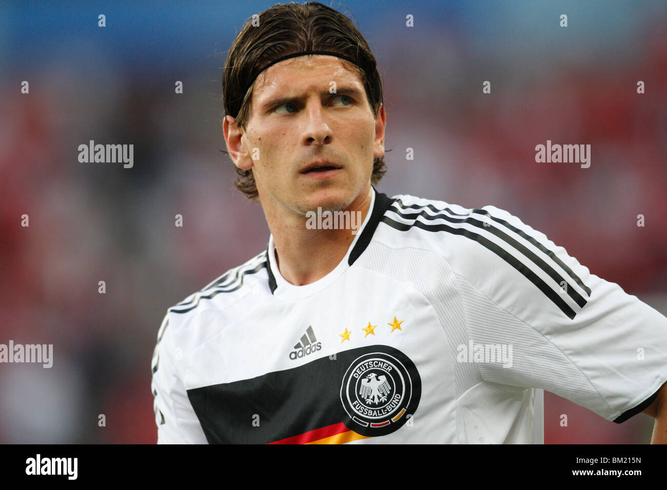 Mario Gomez of Germany seen during team warm ups prior to a UEFA Euro 2008 Group B soccer match against Austria. - Stock Image