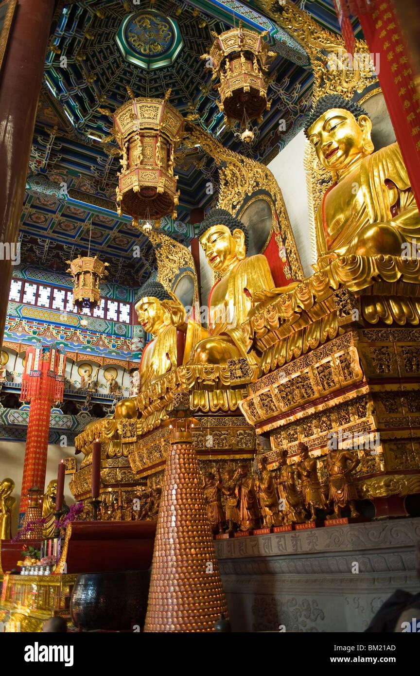 Statues of the Buddha, Jinshan (Golden Hill) Temple, Zhenjiang, Jiangsu, China - Stock Image